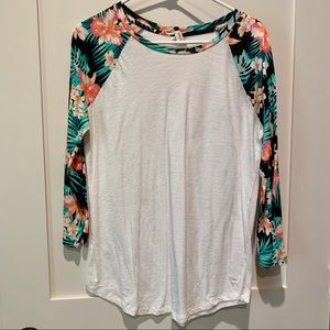 Pink Victoria's Secret 3/4 sleeve Tropical Tee